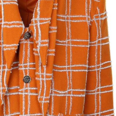 check pattern collar point coat